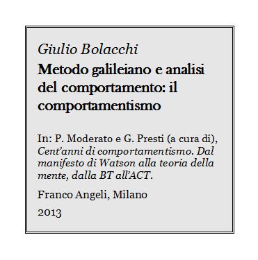 Bolacchi - Metodo galileiano e analisi del comportamento