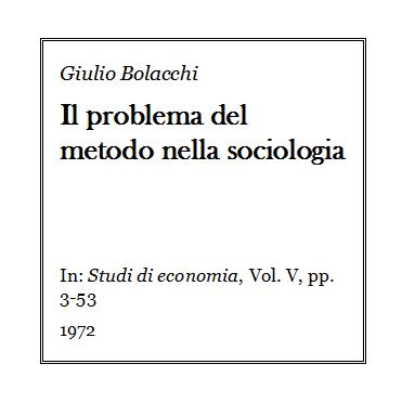 Giulio Bolacchi - Il problema del metodo nella sociologia