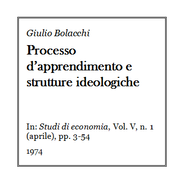 Giulio Bolacchi - Processo di apprendimento e strutture ideologiche