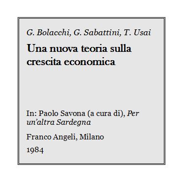 Giulio Bolacchi - Una nuova teoria sulla crescita economica
