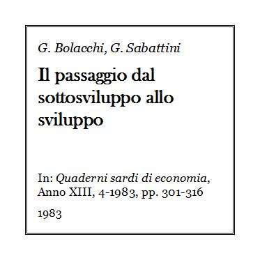 Giulio Bolacchi - Il passaggio dal sottosviluppo allo sviluppo