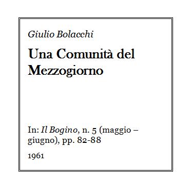 Giulio Bolacchi - Una comunita del mezzogiorno