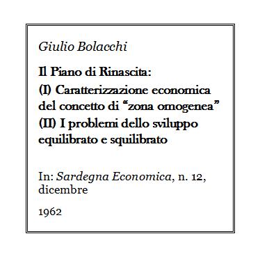 Giulio Bolacchi - Piano di Rinascita della Sardegna