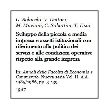 Giulio Bolacchi - Sviluppo pmi e assetti istituzionali