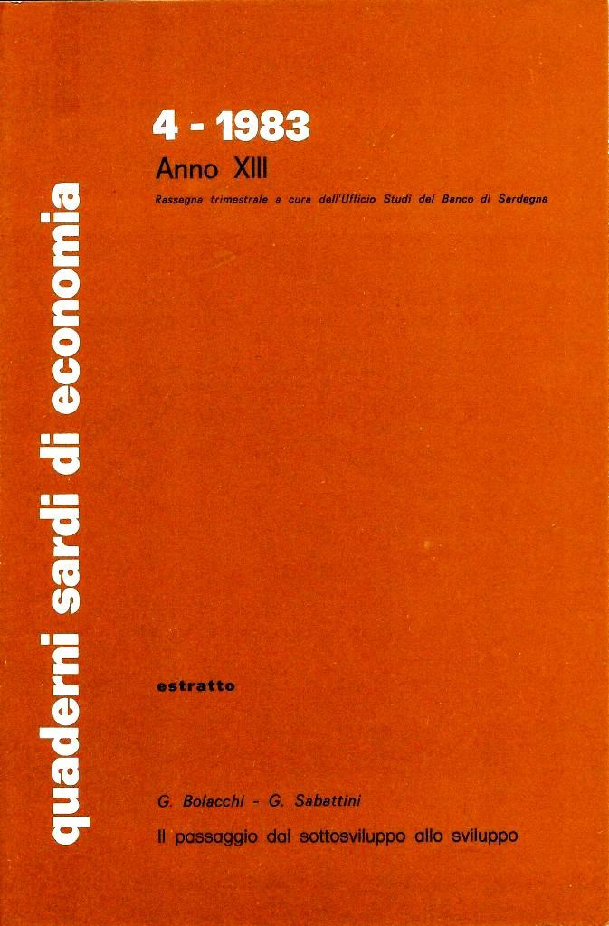 """G. Bolacchi, G. Sabattini, Il passaggio dal sottosviluppo allo sviluppo, """"Quaderni sardi di economia"""", anno XIII, 4, pp. 301-316, 1983"""
