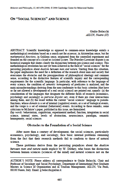 """G. Bolacchi, On social sciences and science, """"Behavior and Philosophy, 32, 465-478, 2004"""