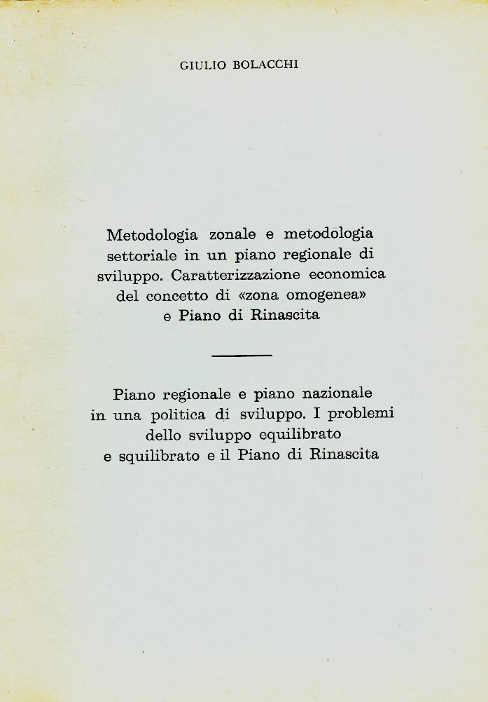 """G. Bolacchi, Sviluppo e piano di rinascita, """"Sardegna Economica"""", n. 12, 1962 (dicembre)"""