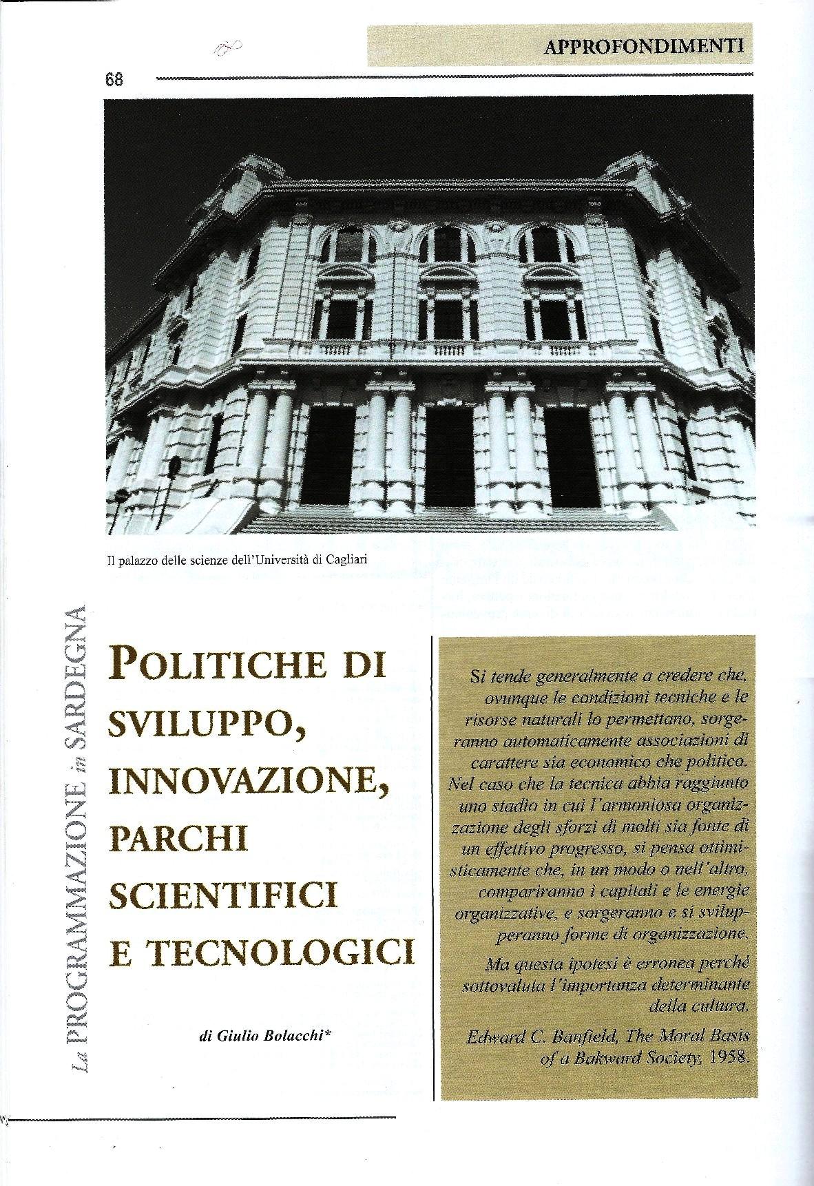 """G. Bolacchi, Politiche di sviluppo, innovazione, parchi scientifici e tecnologici, """"La programmazione in Sardegna"""", anno XXXIV, n.2, pp. 68-106, 2001 (novembre)"""