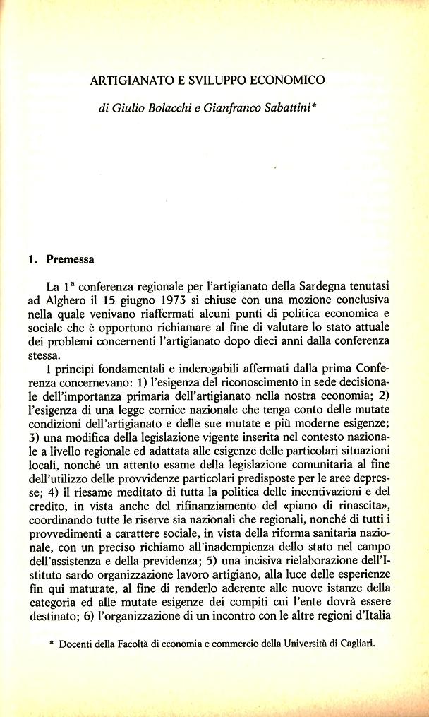 G. Bolacchi, G. Sabattini, Artigianato e sviluppo economico, La politica artigiana in Sardegna, Franco Angeli, Milano, 1984