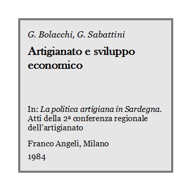 G. Bolacchi - Artigianato e sviluppo economico