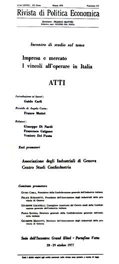 """G. Bolacchi, Intervento al Convegno """"Impresa e mercato"""", Rivista di Politica Economica, LXVIII, III (marzo), 1978"""
