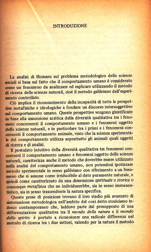 G. Bolacchi, Introduzione, G.C. Homans, La natura delle scienze sociali, Franco Angeli, 1980