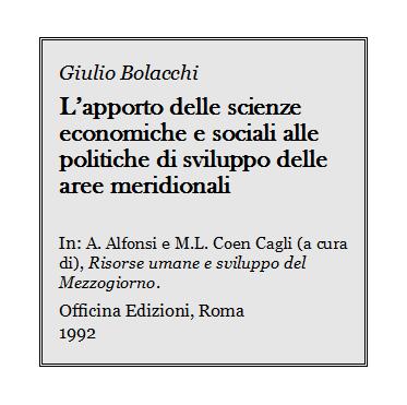 Giulio Bolacchi - Scienze economiche e sociali e politiche di sviluppo