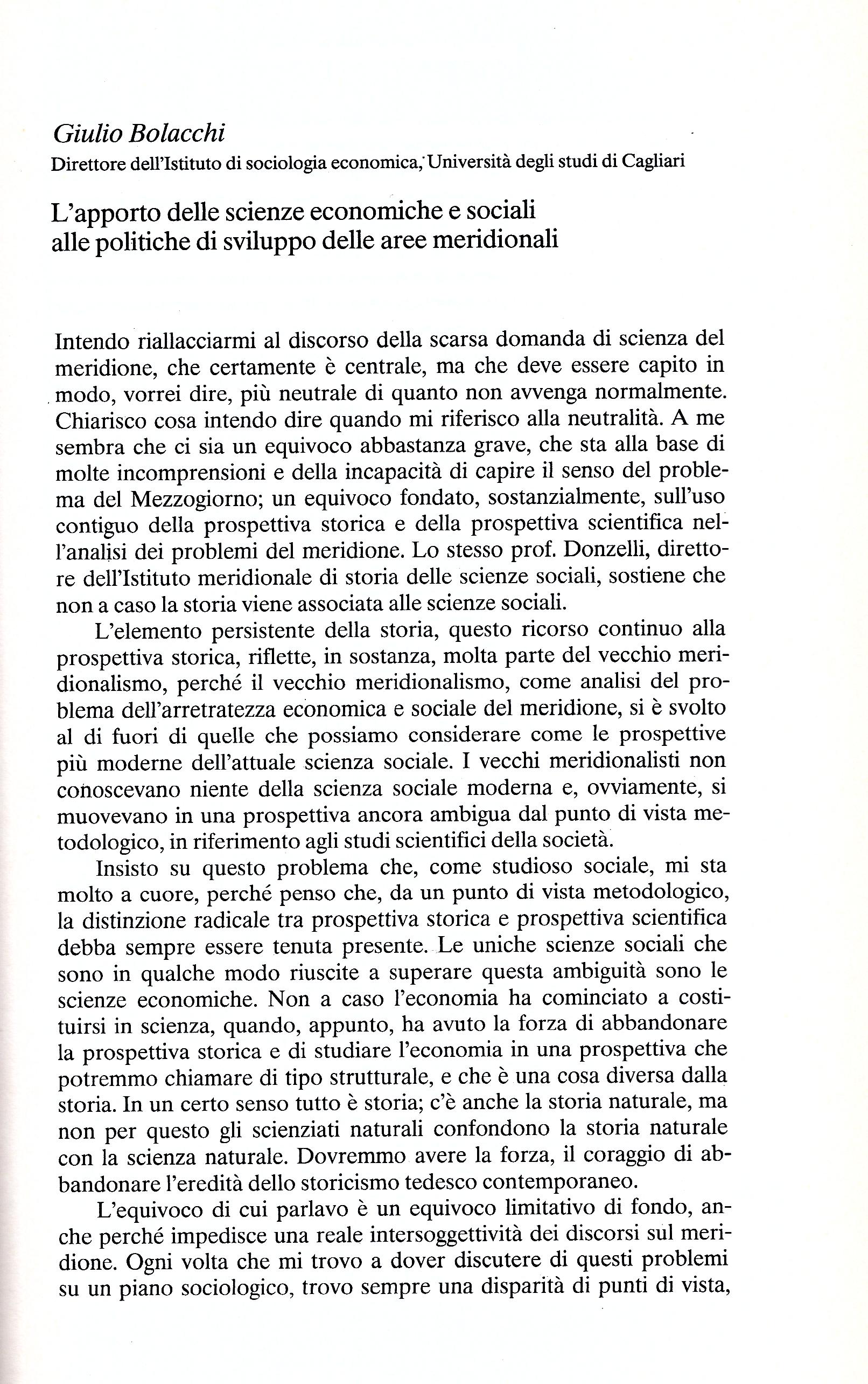 G. Bolacchi, L'apporto delle scienze economiche e sociali alle politiche di sviluppo delle aree meridionali