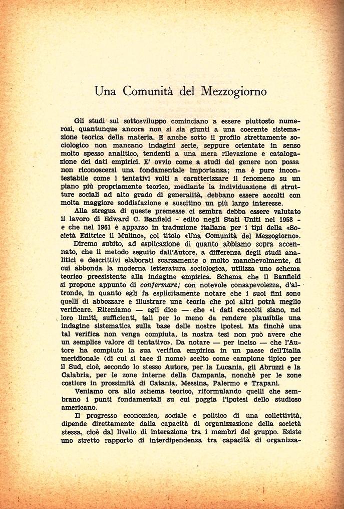 G. Bolacchi, Una Comunità del Mezzogiorno (analisi del testo di Banfield), Il Bogino, n. 5 (maggio-giugno), 1961